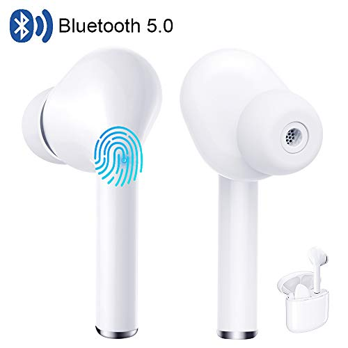 True Wireless Earbuds Bluetooth 5.0 Headphones Touch Control in-Ear Stereo Wireless Earphones with Charging Case Microphone Noise Cancelling Waterproof Headset for Android iOS iPhone Samsung White