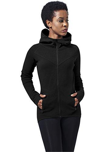 Urban Classics Damen Ladies Athletic Interlock Zip Hoody Kapuzenpullover, Schwarz (Black 7), Medium