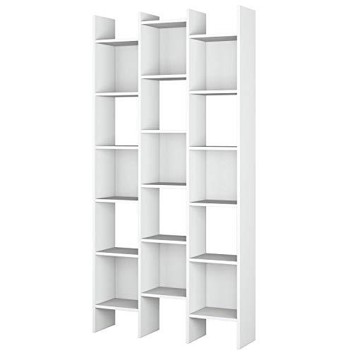 Habitdesign Estantería Librería, Estanteria Despacho, Comedor o Salon, Modelo Italian, Acabado en Blanco Artik, Medidas: 192 cm (Alto) x 96 cm (Ancho) x 25 cm (Fondo)