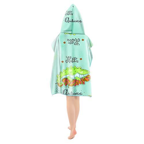 Odot Poncho Toalla de baño en la Playa con Capucha, niños Albornoz Playa Algodón Secado rápido Robe Natación Surf portátil baño Bolsa Almacenamiento (60x60cm+23cm,Cocodrilo)