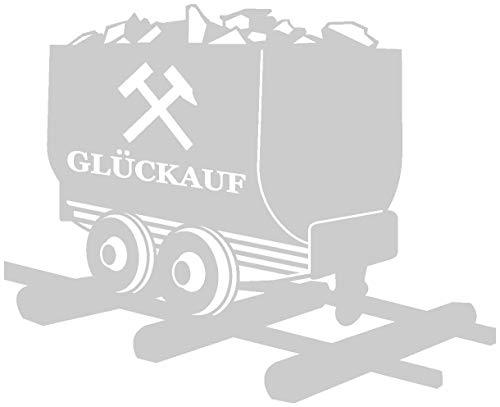 Samunshi® Glück Auf Lore Aufkleber Gelsenkirchen Schalke Ruhrpott Oberhausen Bottrop Ruhrgebiet in 10 Größen und 25 Farben (10x8,2cm silbermetalleffekt)