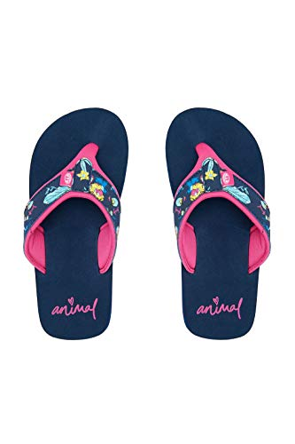 Animal Junior Girls Swish Obermaterial AOP Flip Flops Sandalen - Indigoblau - Bedrucktes PU Nubuk Obermaterial - Eva Fußbett mit Aufdruck