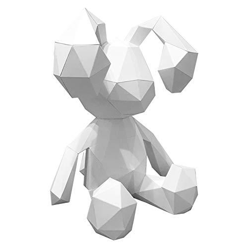 ZYWX DIY Coniglio Animale Carta Muffa DIY Materiale Partito Masquerade, Decorazione, Decorazione, Paralume, Natale/Halloween Maschera,White