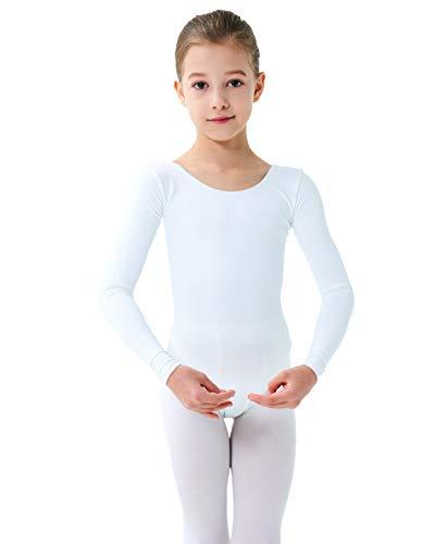 Finihen Girls Leotard Basic Long Sleeve Ballet Dance Leotard White 2-4yrs
