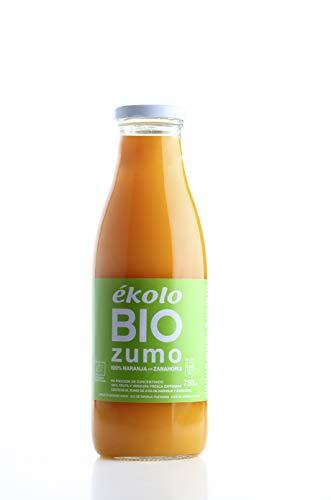 Ekolo Zumo de Naranja Zanahoria Ecológico, 100% Exprimido, 6 Botellas x 750 ml, 4500 ml