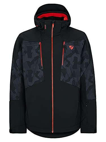 Ziener TINTU Chaqueta de esquí/snowboard | cálida, transpirable, impermeable, negro/gris camuflaje, 46 para Hombre