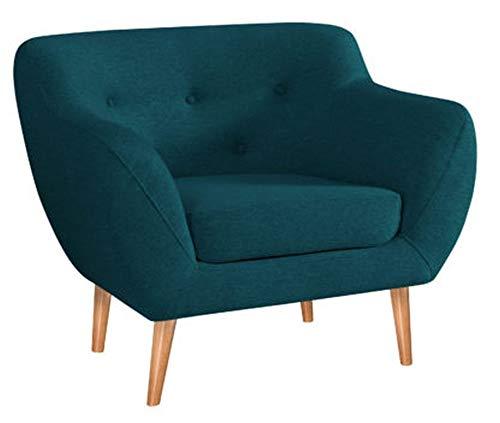 MARTHOME Gepolsterter Sessel, Stuhl aus Samtstoff, bequeme Sessel für Wohnzimmer und Schlafzimmer (Türkis)