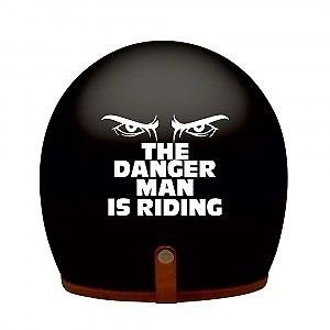 DELHI TRADERSS Vinyl White THE DANGER MAN IS RIDING Bike Helmet Sticker
