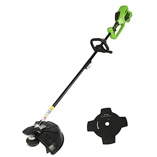 Greenworks Akku-Rasentrimmer und -Sense 2in1 GD40BC (Li-Ion 40V 40cm/25cm Schnittbreite 2mm Faden/Messer 5300 U/min variable Drehzahlregelung brushless Motor ohne Akku und Ladegerät)