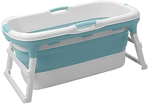 Bañera plegable grande adulto, bañera plegable adulto para ducha, piscina para bebés para el hogar, bañera de baño de plástico - 118x60x58cm (Color : Azul)