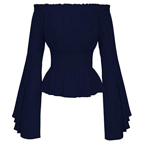 acction Blusa gótica para Mujer Blusa Medieval Blusas de Manga Larga con Volante De Color Sólido con Slash-Neck Blusa De Color Liso