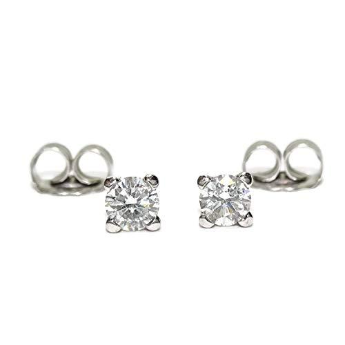 Pendientes de diamantes para mujer en oro blanco de 18k con 2 diamantes de...