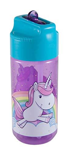 POS 28233 - Trinkflasche mit niedlichem Einhorn Motiv, transparent mit Strohhalm zum hochklappen, BPA-frei, Fassungsvermögen circa 450 ml, ideal für Schule, Sport und Freizeit