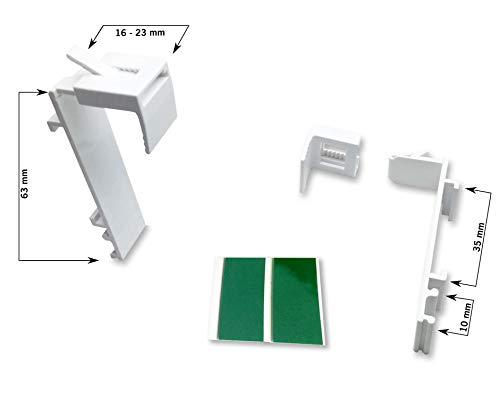 KLEMMFLEX Klemmträger lang für Duo-Rollos/Doppelrollos/Rollos mit separater Stoffträgerschiene - mit Klebepad - OHNE Bohren - je 2 Stück - verstellbar - Farbe Weiss