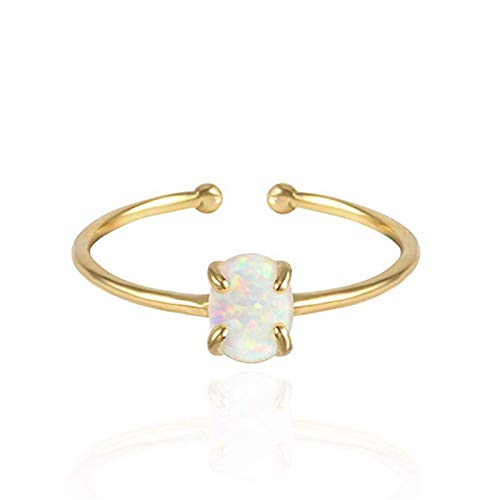 Open Rings for Women Dainty Oval Opal Solitaire Engagement Ring Birthstone Women Wedding Gift Adjustable Size Accessories