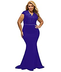 Royal Purple Short Sleeve Rhinestone Plus Size Long Cocktail Dress