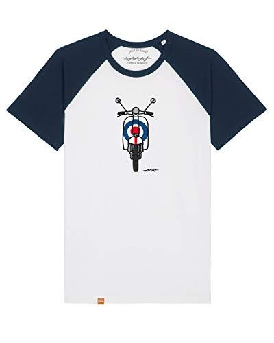 Camiseta Callate La Boca Motocicleta Blanca con Manga a Contraste Marino (L)