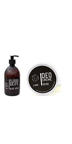 Florex - Jabón de aceite vegetal con leche de oveja, aloe vera, 500 ml, con dispensador y crema desodorante, 40 ml, seda Black Edition, 2 unidades