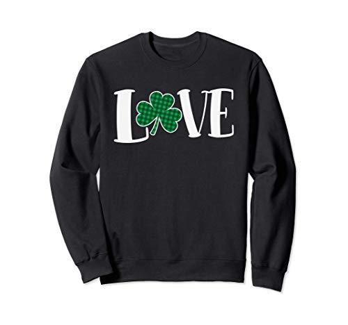 Love Green Buffalo Plaid Clover St. Patty's Day Sweatshirt