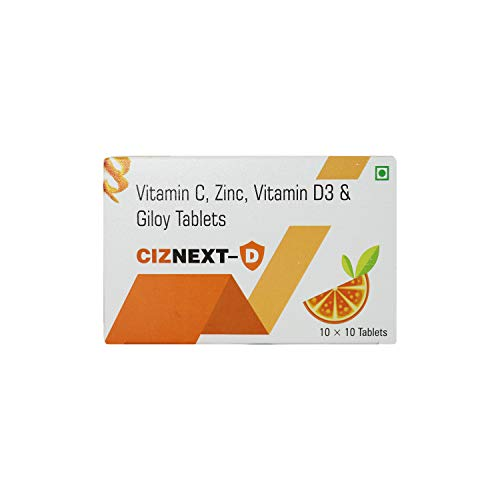 CIZNEXT-D TABLETS (10 x 10 Tablets) : Vitamin-C, Zinc, Vitamin-D3 and Giloy Tablets