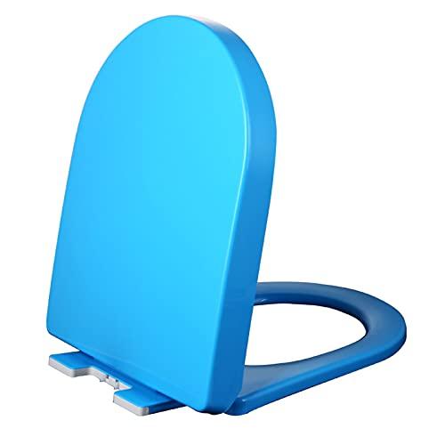YYBD Asiento de Inodoro de Cierre Suave con Asiento y Funda en Forma de D estándar, fácil de Instalar, plástico Duradero, Asiento de Cierre silencioso