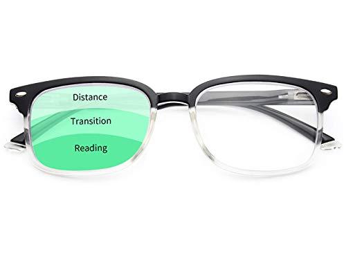 FOURCHEN Gafas de lectura progresivas de enfoque múltiple Bloqueo de luz azul para mujeres Hombres, sin línea Lectores multifocales con bisagra de resorte (Half black half clear, 2.5x)