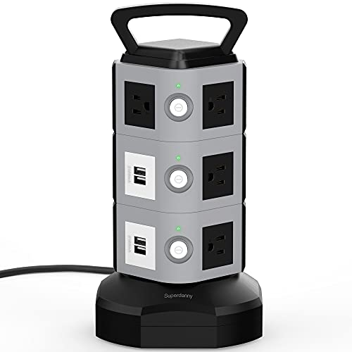 【10ft】 Surge Protector Power Strip Tower - SUPERDANNY 3000W 13A with 4.2A 4 USB Ports 10 Outlets 16AWG Heavy Duty Extension Cord Electric Charging Station Universal Socket for iPhone iPad PC Laptop