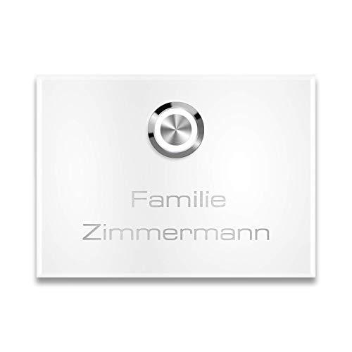 Metzler Aufputz Türklingel aus Edelstahl mit Klingeltaster - Klingel inkl. Gravur - einfache Aufputz-Montage - Pulverbeschichtung in Weiß - Maße: 11 x 8 cm