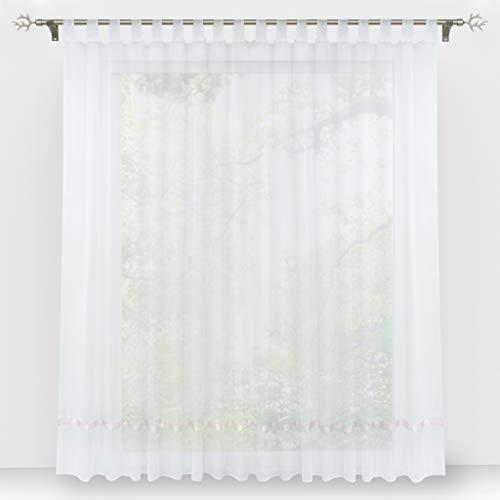 HongYa Stores Voile Gardine Schal Transparenter Vorhang mit Satinband Schlaufen H/B 145/300 cm Weiß