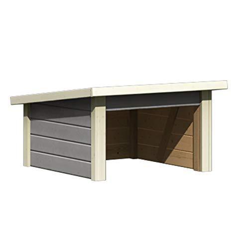 Hori® Garage für Mähroboter I Rasenmäher Garage/Carport aus Holz I seidengrau