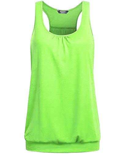 BeyoveWomens Plus Size Workout Yoga Tank TopLooseFit Athletic Tank Top Sleeveless Round…