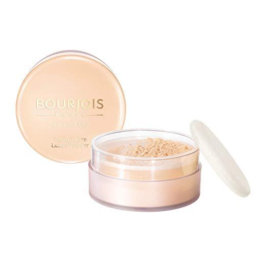 Bourjois Cipria in Polvere Libera Loose Powder, Formula Opacizzante e Uniformante, Spugnetta e Dosatore Inclusi, 01 Peach
