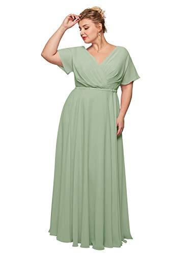 ALICEPUB Wrap V-Neck Sage Green Bridesmaid Dresses Chiffon Long Maxi Formal Dress for Women Party Evening Short Sleeves, US16