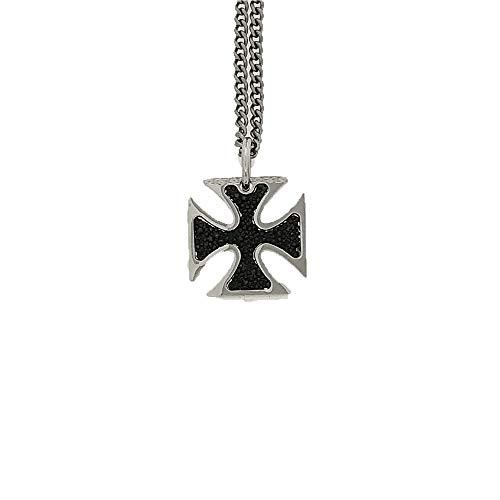 Rebecca Collar para hombre y mujer, de acero y colgante de bronce con cruz templada y brillantes , CRCSML01