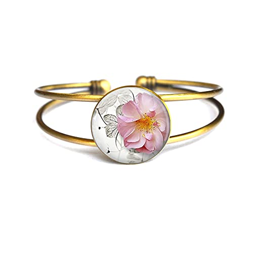 Pulsera de flores de ensueño, pulsera de flores, pulsera de plata delicada, regalo de dama de honor, regalo de flores, minimalista, brazalete diario # 224