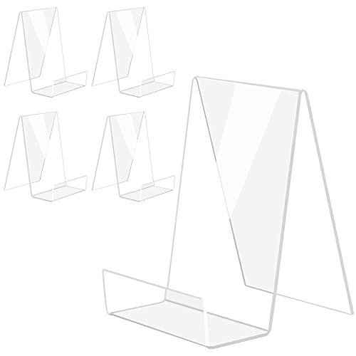 Boloyo - Soporte de acrílico para libros con repisa, 5 unidades, soporte transparente para tablet para mostrar imágenes, libros, hojas de música, cuadernos, obras de arte, CD, etc. (Grande)