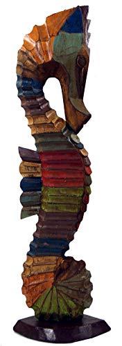 Guru-Shop Holzfigur Seepferd in 3 Größen - Bunt Gestreift, Größe: Groß (50x15x9 Cm), Tierfiguren