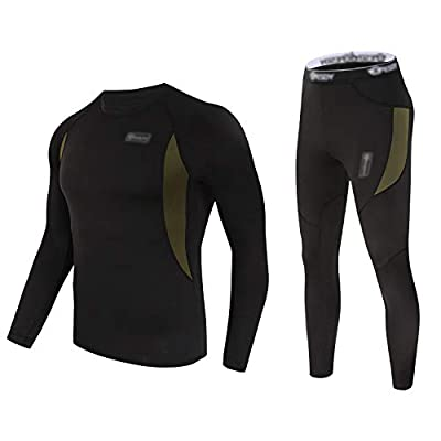 Mens Thermal Underwear Sets Long Johns Tops & Bottom Set Fleece Winter Warm Base Layers Quick Drying Thermo Base Layer Black