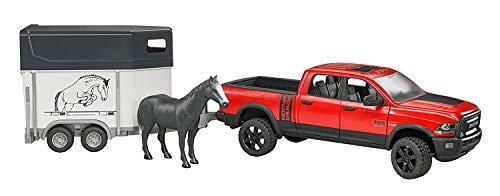 bruder 02501 Toys RAM 2500 Power Wagon mit Pferdeanhänger und 1 Pferd, Bunt