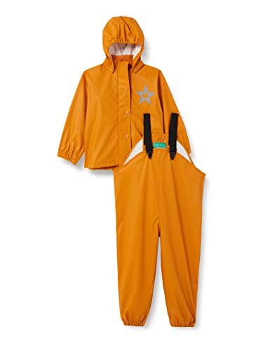 Fred's World by Green Cotton Unisex Baby Rainwear Set Rain Jacket, Orange Caramel, 92