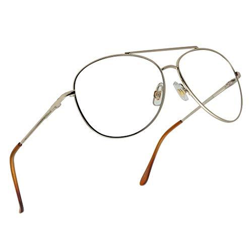 Classic Aviator Multi Focus 3 Powers in 1 Reading Multifocal Asymptotic Eye Glasses - Durable Metal Frame (Gold, 2.50)
