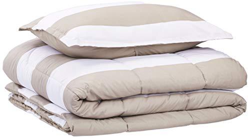 AmazonBasics Comforter Set, Twin / Twin XL, Tan Rugby Stripes, Microfiber, Ultra-Soft