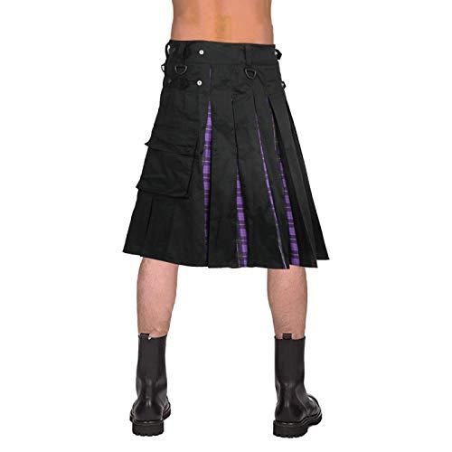 Mooie kilt Rock Scottish Kilt Unisex Schotland Klassieke Retro Gothic plooirok Hip Hop Shorts sjerpen tas Kni