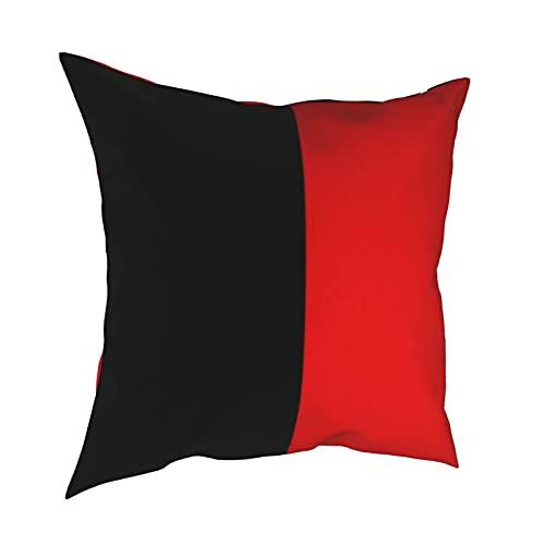 Fundas de almohada decorativas de color negro y rojo, fundas de almohada personalizadas, fundas de cojín para sofá, dormitorio, coche, accesorios para el hogar, 50 x 50 cm