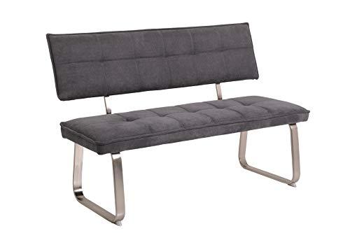Sitzbank Nena mit Rückenlehne, Bezug Webstoff Grau, Metallgestell Edelst.Optik, 140x62x93cm