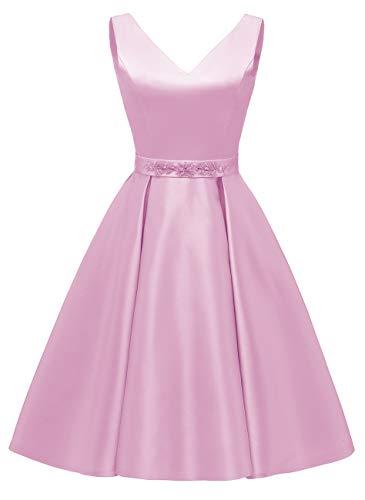 yinyyinhs Sexy Satin V-Ausschnitt Kurze Perlen Abendkleider Rückenfrei Heimkehr Übergröße mit Taschen Größe 48 Rosa