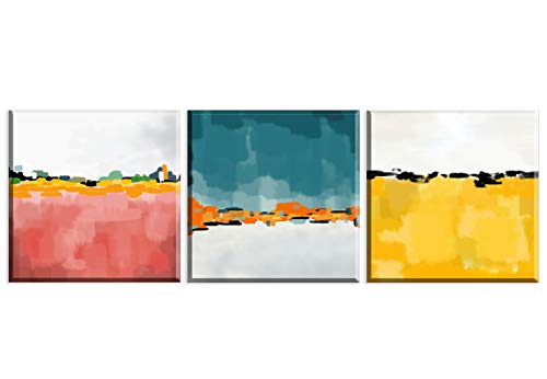 Artezo Dos Colores Cuadros en Lienzo 3 Piezas 30x30cm Bastidor de Madera Listo para Colgar Decoracion de la Pared Salon Cocina Dormitorio Pasillo Baño