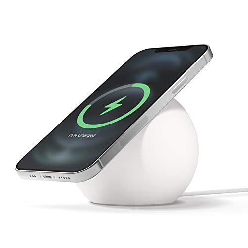 elago MS2 Charging Stand Compatible with MagSafe Charger - Premium Silicone Stand Compatible with iPhone 12 Models [White] [Charging Cable Not Included]