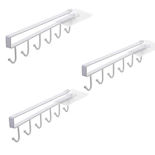 Alliebe 3 Pack Taza Taza tazas de vidrio de vino ganchos de almacenamiento ganchos cocina utensilios cinturones y bufanda colgante gancho estante soporte bajo armario(blanco)