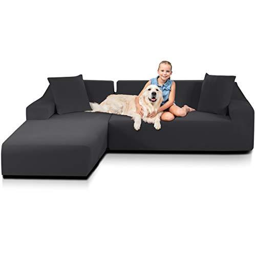 TOPOWN Funda Sofa Chaise Long Impermeable en 30s, Funda Chaise Longue Derecho/Izquierdo 3 plazas + 3 plazas con 2 Fundas de Almohada, Gris Oscuro